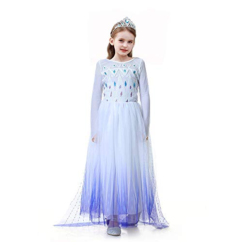 Princess Dress up Costume - Ice Snow Queen ACT 2 Girls Halloween Birthday Party Cosplay Outfit Accessory for Child Kid Teen