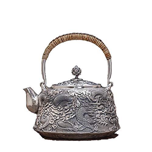 Tetera de Plata Estilo Chino de Plata esterlina 999 hervidor Estampado en Relieve patrón de Agua hirviendo Tetera colección Regalo Juego de té LPLHJD