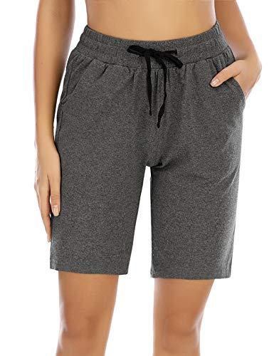 COOrun Bermuda Shorts Damen Sport Kurze Hose Trainingshose Jogginghose Kurz Baumwolle Sweatshorts mit Taschen Grau, M