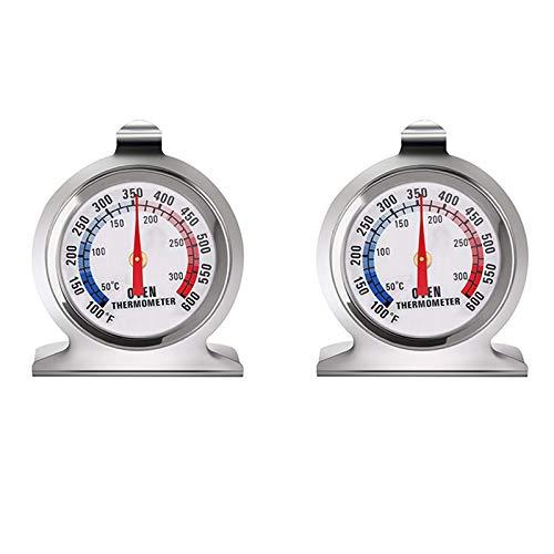 SODIAL 2 Teiliges Ofen Thermometer mit Gro?Em Ziffer Blatt Edelstahl Ofen Grill RauchüBerwachungs Thermometer Geeignet zum Kochen im der KüChe