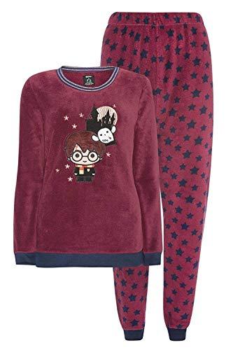 Harry-Potter-Schlafanzug, Pyjama mit langen Ärmeln und Oberteil aus Fleece, burgunderrot, Pyjama-Set für Damen Gr. 46/48 DE XL, burgunderfarben