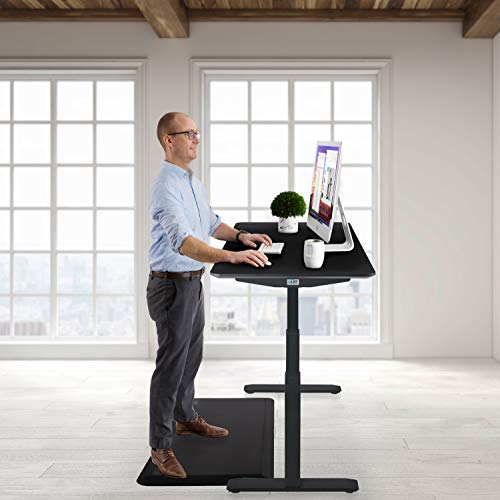 "Seville Classics AIRLIFT Pro S3 54"" Solid-Top Commercial-Grade Electric Adjustable Standing Desk (51.4"" Max Height) Table - Black/Black"