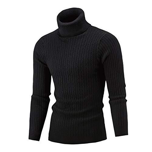 Suéter para Hombre Primavera y otoño Simple Color sólido Cuello Alto Suéter cálido Moda Casual Jersey de Punto Suéter XXL