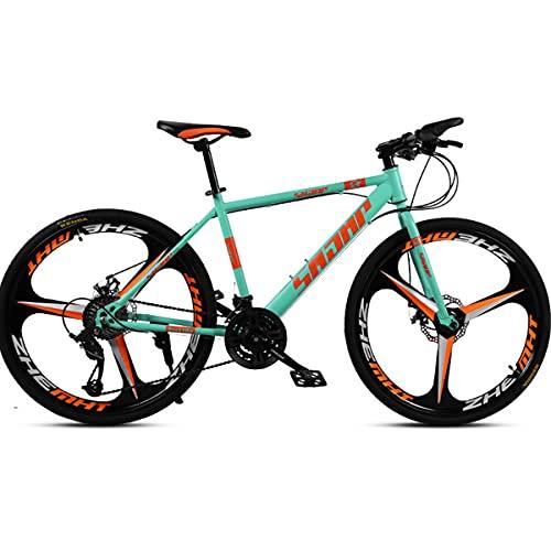 Bicicleta Montaña Carretera 26 Pulgadas 27 Velocidades, Freno Disco Doble, Rueda Tres Radios Una Pieza, Proporciona Una Mejor Experiencia Conducción, para Hombres Y Mujeres Adultos,Verde