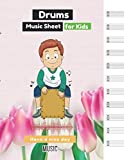 Drums music sheet for kids Realistic vector illustration colorful tulips background eps10 cover, 100 pages - Large(8.5 x 11 inches)