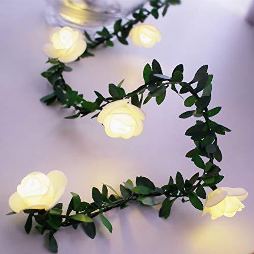 Penglai LED Rose Flower String Lights, 3Meter 20Leds Rose Flower LED Weihnachtsgirlande Fairy String Lights Batteriebetriebene Hochzeit im Freien Hochzeitsgarten Party Dekoration