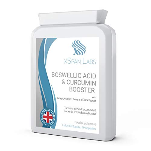 Boswellic Acid & Curcumin Booster Complex – 1 Month Supply, 90 Capsules – containing Minimum 95% Curcumoids & 65% Boswellic Acid - with Added Ginger, Acerola Cherry and Black Pepper