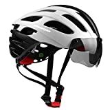 Shinmax Bike Helmet, Bicycle Helmet CPSC/CE Certified with USB Rechargeable Light&Magnetic Goggles&Reflective Sticker Adjustable for Men/Women Mountain/Road,Cycling Helmet BC-049 Bonus - Carrying Bag