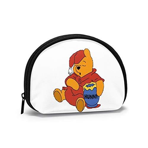Winnie The Pooh se quedó Dormido con un Sombrero de Navidad Billetera Unisex en Forma de Concha para Guardar Billetes pequeños y triviales
