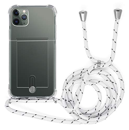 MyGadget Funda Transparente con Cordón para Apple iPhone 11 Pro MAX - Carcasa Portatarjetas con Cuerda y Esquinas Reforzadas en Silicona TPU - Blanco