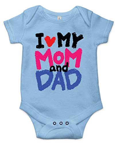 I Love My Mom and Dad Best Shower Gift Cute Funny Message Infant Baby Bodysuit Blue