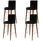 KELUINA - Coprisedia in velluto con schienale, elastico per la casa, per la cucina, il bancone della colazione, sedie da bar (nero, set di 4)