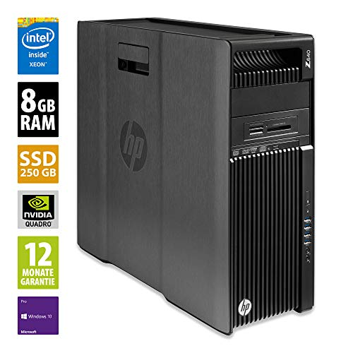HP Workstation Z640 MT - Xeon E5-2609 v3 @ 1,9 GHz - 8GB RAM - 250GB SSD - DVD-RW - Nvidia Quadro K2200 - Win10Pro (Zertifiziert und Generalüberholt)