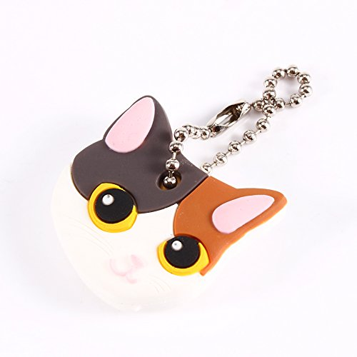 ViaGasaFamido Key Cover, Super Funky Silicone Cartoon Pet Cat Key Identifier Caps Key Caps with Ring Fits for Most Keys