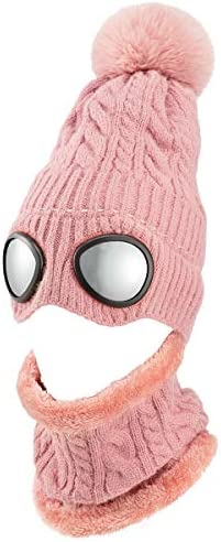 Cosweet Knit Beanie Hat and Scarf Set Winter Beanie Pilot Aviator Hat with Googles Warm Knit product image