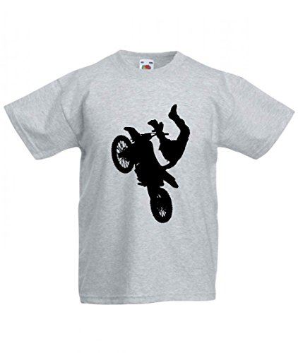 Camiseta de atleta para bicicleta, niño, hombre, motocross, motocross, bicicleta, bicicleta, silhouette, deporte, trick, transporte, vehículo para hombre, mujer, niños, 104 – 5 XL gris Para Hombre Talla : X-Large
