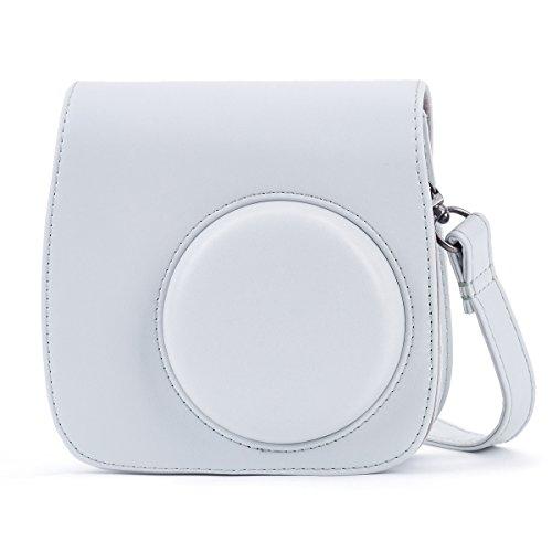 Phetium Soft PU Leather Protective Case with Shoulder and Pocket for Fujifilm Instax Mini8 8+/Mini9 Instant Camera (Smokey White)