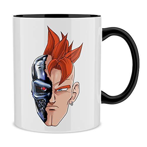 Okiwoki Mug Noir Dragon Ball Z - Terminator parodique C16 X Terminator : T-16 (Parodie Dragon Ball Z - Terminator)
