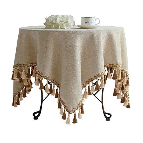 Modern licht luxe Rond tafelkleed, Europees tafelkleed, Persoonlijkheid, waterdicht en Stain Linnen Ronde Beige tafelkleed (Size : 160cm)