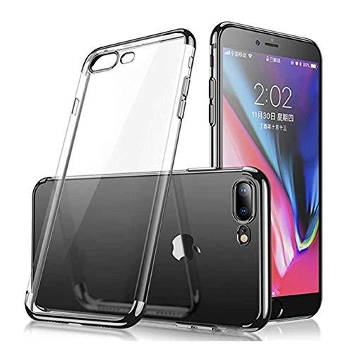 Compatible con iPhone 7 Plus, funda ultrafina transparente de silicona suave, duradera y resistente a los arañazos, transparente, resistente al polvo y a la caída. Negro Talla única