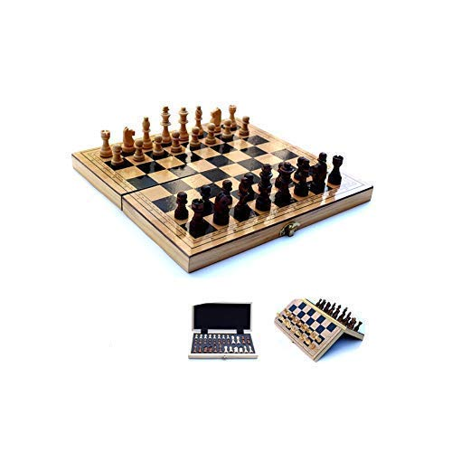 LURUZA Chess Set,Chess, Wooden Feel Delicate Folding Chess, Amateur Training Teaching Chess (Brown, 29 14 5cm) (Color : Brown, Size : Small)