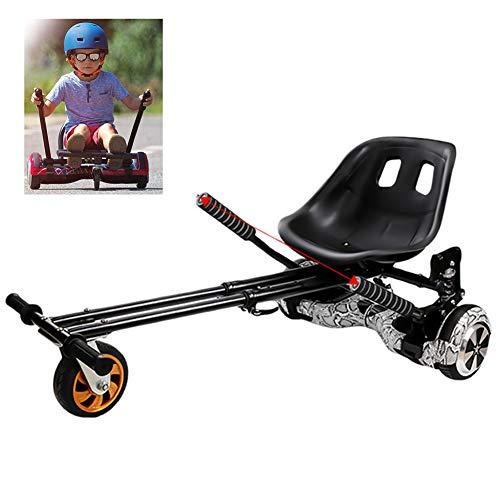 FLy Kart para Patinete Go Kart Asiento Ajustable para Scooter De Auto Equilibrio De 2 Ruedas, para 6,5 8 10 Pulgadas Hoverboard Accesorios Smart Electric Scooter,Negro