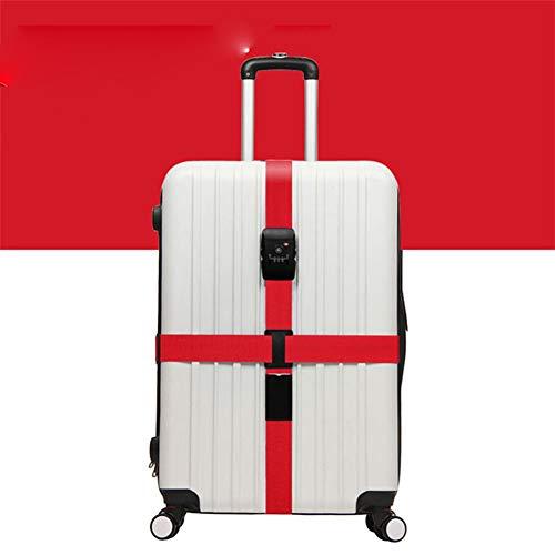 Egurs TSA Zahlenschloss Koffergurt TSA Schloß Gepäckgurt Kofferband,Kreuz, 430x5cm rot