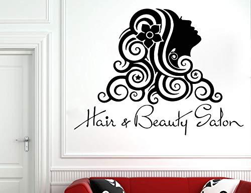 Salón de belleza Decoración - Peluquería Tatuajes de pared - Peluquería Calcomanía Regalo de peluquería Mujeres cara vinilo adhesivo para la ventana de cristal 57X43CM
