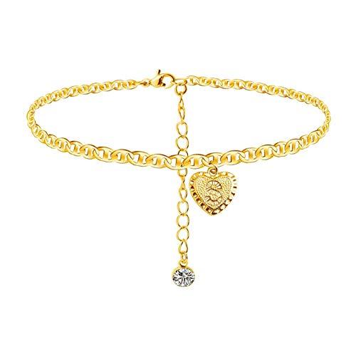Tobillera con forma de corazón con letra del alfabeto, chapada en oro de 24 quilates, pulsera de cadena mariner para mujeres y niñas
