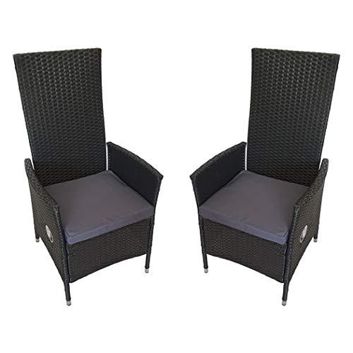 KMH®, 2er Set Polyrattan Hochlehner Tjorben schwarz incl. Kissen (stufenlos verstellbare Rückenlehne - 4 String) (#1060051)