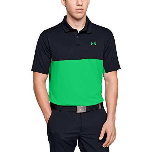 Under Armour Polo de Golf Performance 2.0 para Hombre, Performance Golf Polo 2.0 Colorblock, Hombre, Color Negro (001)/Vapor Green, tamaño Small