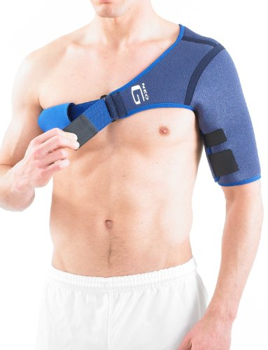 Neo G Shoulder Support -  for Rotator Cuff, Dislocated Shoulders, Joint Pain, Arthritis, Shoulder Injury, Sports - Adjustable Compression Strap - Class 1 Medical Device - Right - Blue