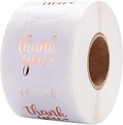 Danke Aufkleber, Netume 500pcs Rose gold Runde Thank You Geschenkaufkleber Dankeschön Sticker Etiketten Weiß Geschenk-Verpackung Gastgeschenk Hochzeit Mitgebsel für Gäste Geburtstag Fest Etiketten