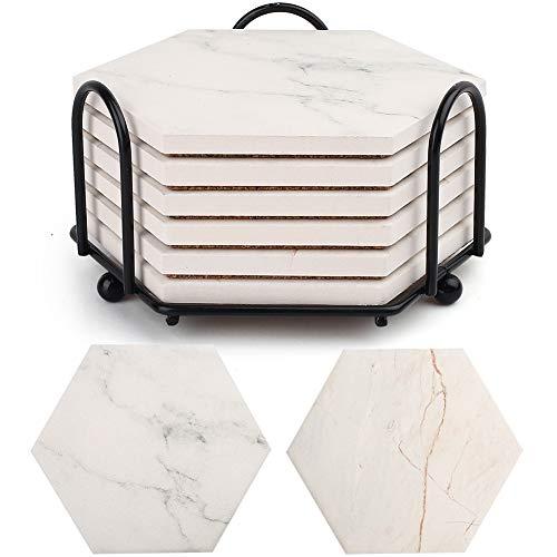 LotFancy posavasos absorbentes para bebidas, 6 posavasos hexagonales de cerámica con soporte de metal, patrón de mármol con base de corcho antideslizante, inauguración de la...