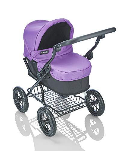 Molly Dolly Deluxe Dolls Pram - Foldable Kids Stylish Stoller Toy with Shoulder Bag & Storage Basket, Purple & Black