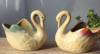 Ceramic Home/ Garden Flower Planter Pot - Handmade by High Temperature Fired Ceramic - Elegant Swan Design Set of 2