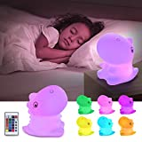 GoLine Dinosaur Night Light for Toddlers Boys Girls, Babies Christmas Kawaii Gifts, Color Changing Touch Night Lamp with Remote, Desk Decor Teen Girls Women, USB Rechargeable 7-Color LED Nightlight.