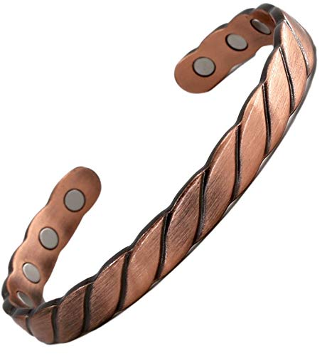 Reevaria - Guaranteed 99.9% Pure Copper Twisted Magnetic Cuff Bracelet for Men Women, with 8 Magnets 3500 Gauss- Recovery and Pain Relief - Arthritis, Golf and Other Sports Injuries, Carpal Tunnel