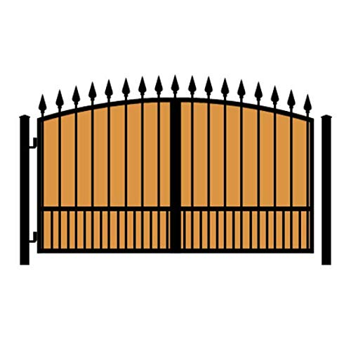 StandardGates - Wooden Wrought Iron Driveway Gate Kit - 10 ft 0 in, Solo Swing, Puppy Pickets, Vertical Ironwood, Arched, Finials