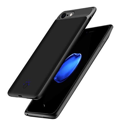 バッテリー内蔵ケース 軽量 超薄 大容量 急速充電 iPhone 8/7/6s 専用 バッテリーケース 5000mAh 全面保護ケース 車載ホルダー対応 ケース型バッテリー (4.7インチ, ブラック)