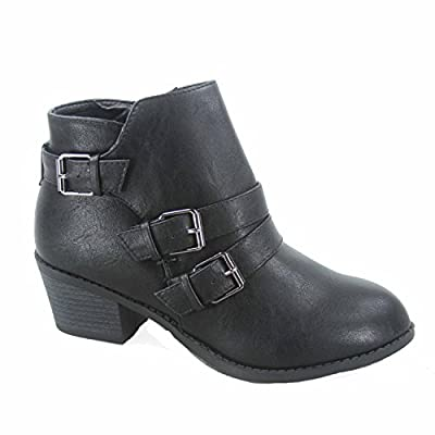 Forever Link Eury-4 Women's Fashion Round Toe Buckles Zipper Low Heel Ankle Booties Shoes (5 M US, Black - Low Heel)