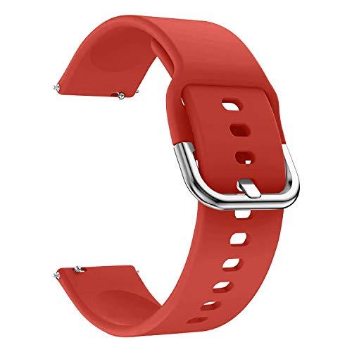 EWENYS Correa de repuesto para deportiva silicona suave de smartwatch, Compatibile con Samsung Galaxy Watch Active 2 40mm 44mm / Garmin vivoactive 3 / Amazfit GTS GTR 42mm (20mm, Rojo)
