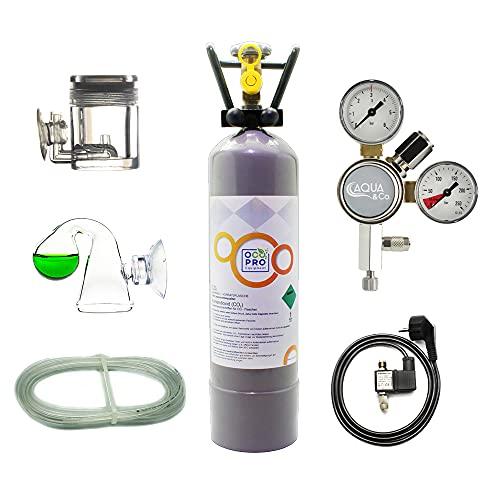 OCOPRO CO2 Anlage DLX-350 Plus Aquarium mit Nachtabschaltung & VOLLE 2kg Mehrwegflasche