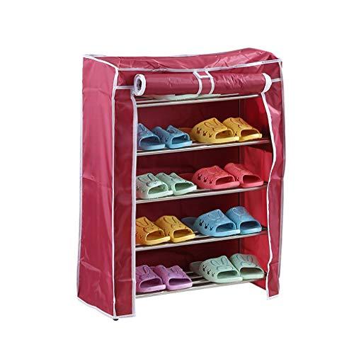 Yyqx Zapatero de acero inoxidable para el hogar, múltiples capas, zapatero desmontable, resistente al agua y al polvo (tamaño: 84 cm)