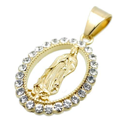 [シルバーワン] グアダルーペの聖母マリア ジルコニア ペンダント メンズ c5 金 大きめ ステンレス