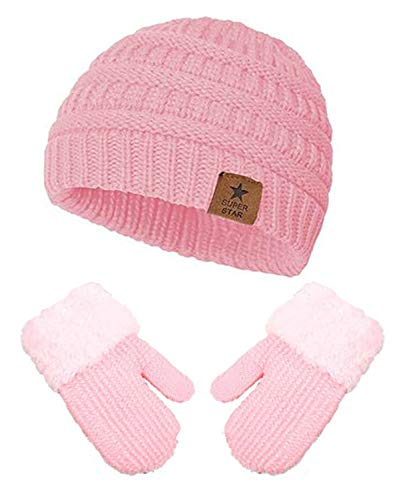 CheChury Jungen Mädchen Warm Gestrickter Wintermütze Handschuhe Sets Beanie Mütze Weiche Baumwollkaps Cute Hüte für Baby Säuglings Kinder 0-36 Monate