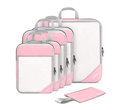 Gonex Compression Packing Cubes, Extensible Mesh Bags Organizers L+2M+2S with 4 Zipped Plastic Bags and Wallet Pink