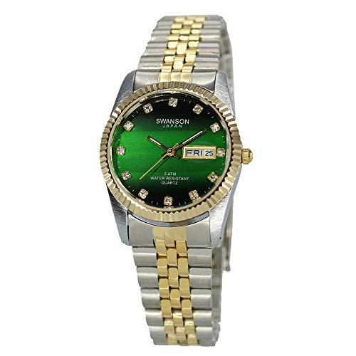 Swanson Japón Hombre Day-Date Reloj de Dos Tonos Verde Piedra Esfera con Estuche de Viaje
