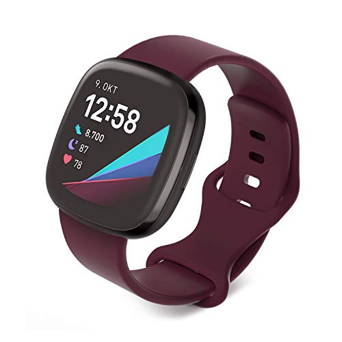 Jvchengxi Compatible con Fitbit Versa 3 Correa/Fitbit Sense Correa, Bandas de Repuesto de Silicona Suave Ajustable Deportivo Pulsera Accesorio para Fitbit Sense/Versa 3 (S, Vino Rojo)