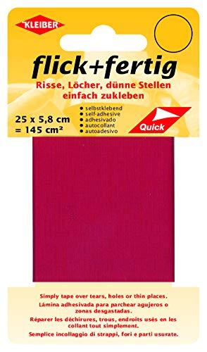Kleiber 43077 Flick + fertig Selbstklebender Nylon Ausbesserungsflicken, 100% Polyamid, hellrot, 25 x 5,8 x 0,02 cm , (145 cm²)